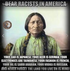 """""""DEAR RACISTS IN AMERICA,"""" began one Instagram meme shared by the now-suspended account @Native_Americans_United, which is believed to be connected to a Russian troll farm."""