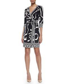 Diane von Furstenberg Abstract Silk Wrap Dress, Black