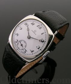 A cushion vintage Omega watch, 1920s
