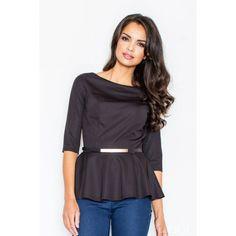 811076d9d5 Elegantné dámske blúzky s opaskom čiernej farby - fashionday.eu