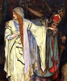 """"""" marcuscrassus: """" Edwin Austin Abbey - King Lear, Act I, Scene I """" view the entire painting here """" Edwin Austin Abbey, Pre Raphaelite Paintings, Medieval, Art Ancien, Classical Art, Art Plastique, Beautiful Paintings, Art Inspo, Painting & Drawing"""