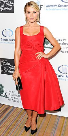 Julianne Hough in tea-length Carolina Herrera dress with a structured bow in the back at the 6th Annual EIF Women's Cancer Research Fund event in LA