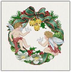 "Ellen Maurer-Stroh ""Wreath Angels"" Christmas Counted Cross Stitch Pattern, Chart"