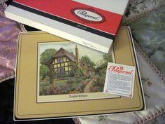 """Vintage Pimpernel Set of 6 Placemats English Cottages 9"""" x 12"""" England #Pimpernel"""