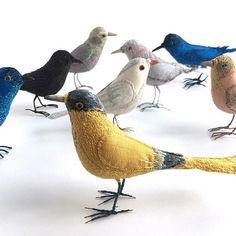 .....birds......... . . . #bird #embroidery #softsculpture #art #textileart #broderie #fauxtaxidermy #needlework