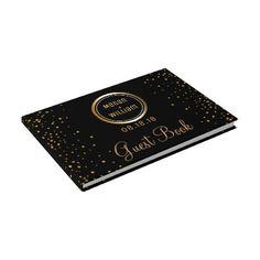 #monogrammed - #Black Gold Glitter Wedding | Custom Monogram Guest Book
