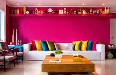 Decoracion De Interiores  Ideas Coloridas Para Decoracion De Salas Decoracion De Salones En Color Fucsia Color Fucsia Decoracion Salones