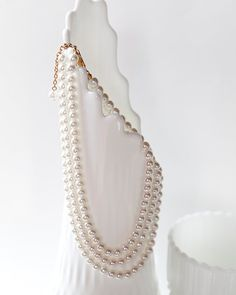 Pearl necklace multi stranded necklace white white by AlbertsAttic