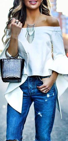 cute outfit idea top + bag + jeans