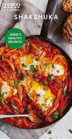 """Shakshuka, Food And Drinks, Jamie Oliver says """"My super-easy shakshuka - gorgeous coddled eggs in a beautiful veg-packed sauce - is just the thing or a healthier brunch that'. Veggie Dishes, Veggie Recipes, Vegetarian Recipes, Cooking Recipes, Shakshuka Recipes, Low Carb Brasil, Tesco Real Food, Healthy Brunch, The Best"""