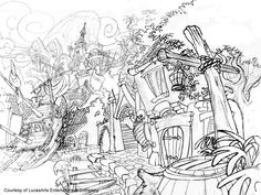 The Curse of Monkey Island 1997 sketch schizzo level livello paese village borgo Lucas Arts, 2d Game Art, Monkey Island, Dragon City, Background Drawing, Z Arts, Cool Sketches, Animation, Art Drawings