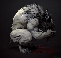 Werewolf model by Maria Panfilova Mythical Creatures Art, Fantasy Creatures, Werewolf Art, Werewolf Drawings, Skyrim Werewolf, Vampires And Werewolves, Monster Design, Arte Horror, Wow Art
