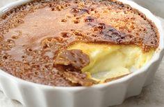 Crème Brûlée, 2 1/3 c heav cream, 2/3 c  milk, 1/4 c s, 3 egg yks, 1 tsp. vanilla, 3/4 c light brown s, O 300° Heat cream, milk, sugar in heavy saucepan almost boil. Other bowl, beat/blend egg yks. Gradually whisk heated mix in eggs,return mix to pan. Cook med heat, stir constant w/ wood spn til custard coats back spn, 3-4 mins; remove from heat. Stir in vanil. Pour custard in 6 dishes.