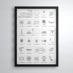 From aero helmets to zip ties. The Cyclists Alphabet is now available to order to hang in your homes. My 2 year old son is using this very poster to learn his letters! Printed on 260gsm Satin Photo Paper. Your print will be shipped in a good quality poster tube to ensure that your poster reaches you in top condition.  Available in A2 and A1 and sold unframed.