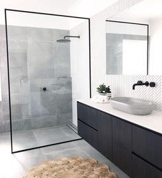 Bathroom inspiration by . Loving the black framed shower screen, contrast of tiles and concrete basin. Bathroom inspiration by . Loving the black framed shower screen, contrast of tiles and concrete basin.