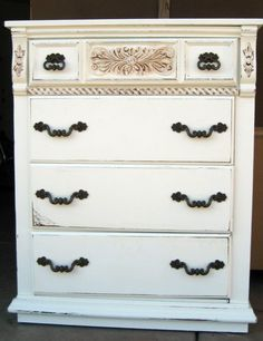 Done and DONE.  Vintage inspired dresser / tallboy paint and glaze finish.