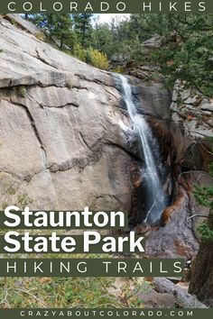 Staunton State Park, the newest State Park in Colorado is a mountain mecca of hiking trails. Some with history, one with a waterfall, hike along streams & up to dramatic rock outcropping with overlooks that have breathtaking views.