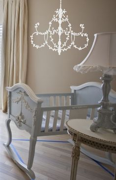 Pale Blue Bassinet, Chandy Wall Mural, Ceramic Lamp. This Infant Room Is So