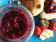 Strawberry & lavender jam with Scones by @Rosana McPhee