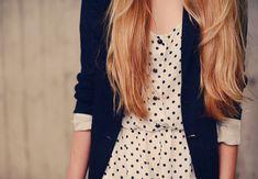 Polka dot dress and blazer. Too cute.