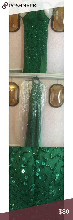 Green halter Prom Dress Size 8, sewn in cups, worn once 100% silk with custom beading Dresses Prom