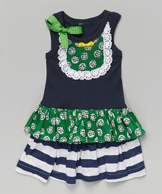 Another great find on #zulily! Green Daisy Ruffle Dress - Infant, Toddler & Girls #zulilyfinds