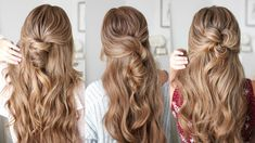 3 Unique Half Up Hairstyles Curling Iron Hairstyles, Down Hairstyles, Girl Hairstyles, Hair Addiction, Braids For Long Hair, Half Up, Hair Oil, Hairline, Gorgeous Hair