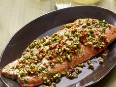 Roasted Salmon With Walnut-Pepper Relish from #FNMag #myplate #protein