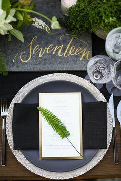 Modern California wedding place setting