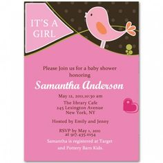 birds baby girl shower invitations