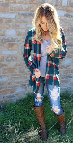 winter outfits vrouw Amazing Flannel Outfits Ideas For Fall 2019 26 Mode Outfits, Casual Outfits, Fashion Outfits, Womens Fashion, Plaid Outfits, Outfit Jeans, Fashion Ideas, Shirt Outfit, Outfits 2016