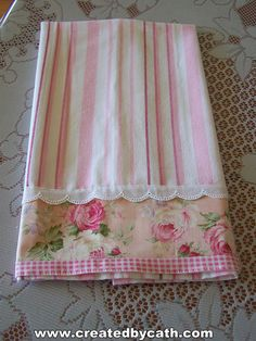 Pink and white tea towel ~ Stripes, lace, floral and gingham