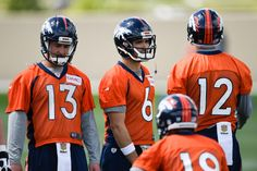 Denver Broncos quarterbacks Trevor Simian (13) Mark Sanchez (6) Paxton Lynch…