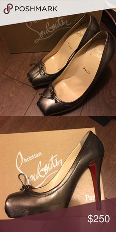 Louboutin Pewter High Heels pewter Christian high heels. Small scuffs on front, blend in good. Christian Louboutin Shoes Heels