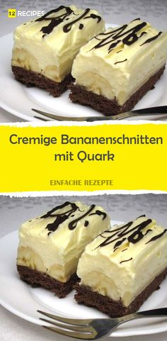 Cremige Bananenschnitten mit Quark Cooking For Beginners, Party Finger Foods, Banana Slice, Cakes And More, No Bake Desserts, Baking Recipes, Sweet Tooth, Bakery, Cheesecake