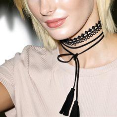 DIY borla Larga y Sexy Hueco de Encaje Negro Gargantilla Collar de la Mujer Accesorios de Moda Collar N199