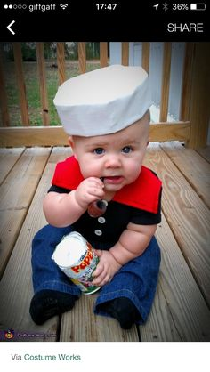 Popeye Costume - Halloween Costume Contest via Costume Halloween Bebe Garcon, Baby Halloween Costumes For Boys, Baby First Halloween, Halloween Costume Contest, Toddler Costumes, Costume Ideas, Halloween Party, Halloween Night, Halloween Costumes For Toddlers