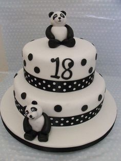 18th birthday panda cake  - Cake by zoe