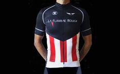 Vi kan nu præsentere en helt ny trøje. La Flamme Rouge - Stripes er af den absolut højeste kvalitet. Den er produceret af Vermarc der også producere tøj til cykelholdet Omega Pharma -Quick-Step. Brian Holm står bag designet og inspirationen stammer fra de amerikanske løb hvor Omega Pharma - Quick-Step altid er godt repræsenteret.
