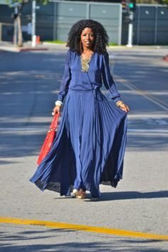 long sleeved maxi dress. This would be ideal with a bold and funky scarf!