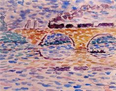 Henri-Edmond Cross, The Viaduct, watercolor Choppy & Soft with Wonderful Watercolors Choppy Brushwork & Soft Edges http://paintwatercolorcreate.blogspot.com/2013/10/choppy-soft-with-wonderful-watercolors.html
