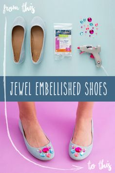 Add a pop of color and sparkle to your plain shoes and accessories to make DIY Jewel Embellished Shoes! All you need are some upcycled shoes, gemstones, and Elmer's new CraftBond Less Mess Hot Glue Sticks & Hot Glue Gun.