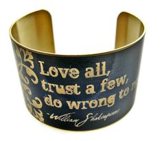 William SHAKESPEARE cuff bracelet Love all by UniqueArtPendants, $30.00