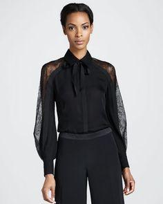 Chantilly Lace-Sleeve Blouse by Carolina Herrera at Bergdorf Goodman.