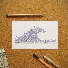"""Ilustração """"Veraneio"""" da coleção de ilustrações """"Cidades Azuis"""" por Gabriel Dyonisio."""