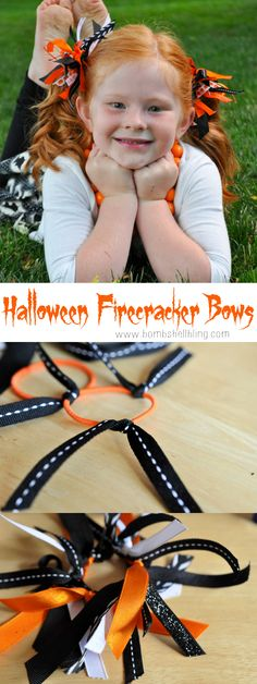 This tutorial for Halloween Firecracker Bows is the simplest tutorial ever! Easy Hair Bows, Kids Hair Bows, Ribbon Hair Bows, Making Hair Bows, Girls Bows, How To Make Hair, How To Make Bows, Halloween Bows, Halloween Hair Clips