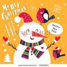 Vector Cheerful Christmas card with Snowman. Merry Christmas and Happy New Year.