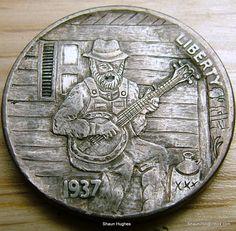 Hobo Nickel 'Grandpa Clawhammer' Banjo Player Miniman by Shaun Hughes | eBay