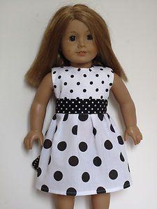 polka dot white/black dress for American Girl Doll $9.99