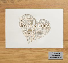 Items similar to Personalised Golden Anniversary print. on Etsy Wedding Anniversary Words, First Anniversary Paper, Golden Anniversary Gifts, Anniversary Gifts For Parents, Boyfriend Anniversary Gifts, Anniversary Ideas, Wedding Vows, Unique 50th Birthday Gifts, Birthday Gifts For Girls